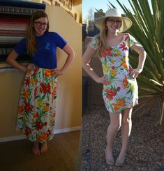 Thrifted skirts are easy to find and even easier to refashion. Follow this tutorial to turn a skirt to T-shirt dress refashion!