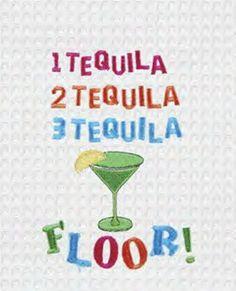 1 Tequila 2 Tequila 3 Tequila Floor! Waffle Weave Kitchen Towel