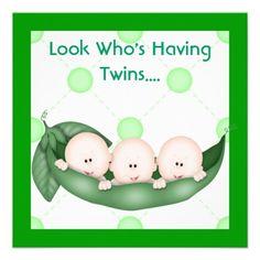 THREE PEAS IN A POD BABY SHOWER  INVITATION