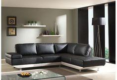 Canapé d'angle composé à base de simili cuir coloris noir et blanc