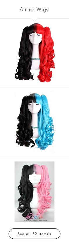 """Anime Wigs!"" by alice-the-skatergirl ❤ liked on Polyvore featuring hair, hair and wig, red, beauty products, haircare, hair styling tools, wig, cosplay, wigs and black"