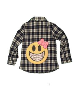 Vintage Havana Girls Plaid Shirt with Back Emoji Vintage Havana, Emoji, Girl Outfits, Plaid, Girls, Table, Sweaters, Fashion, Baby Clothes Girl