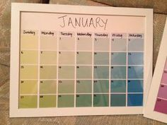 DIY Calendar using paint shade pallettes. Free from the store! This is such a cool idea!