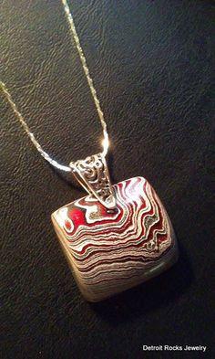 Detroit Fordite Agate Necklace Pendant on by DetroitRocksJewelry