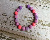 Pink and Purple Chunky Bead Necklace