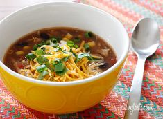 Crock Pot Chicken Enchilada Soup | Skinnytaste. Serving size: 1 1/2Cups. Count as 1 Green, 1 Red, 1/2 Yellow, and 1 Blue (1/2 blue of low fat cheese, 1/2 blue of avocado)