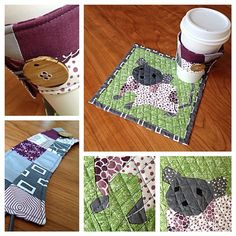 for my mom's birthday matching #coffeekoozie for the mousie #mugrug Fun patterns from @fatquartershop and violetcraft.com #quilting #forestabstractions