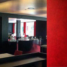 Red-restaurant #vals #hotel #7132 Red Restaurant, Bathroom Lighting, Mirror, Instagram, Frame, Furniture, Home Decor, Waltz Dance, Thermal Baths