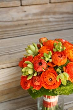 ♡ Green + orange #wedding #Bouquet ... For wedding ideas, plus how to organise an entire wedding, within any budget ... https://itunes.apple.com/us/app/the-gold-wedding-planner/id498112599?ls=1=8 ♥ THE GOLD WEDDING PLANNER iPhone App ♥  For more wedding inspiration http://pinterest.com/groomsandbrides/boards/ photo pinned with love & light, to help you plan your wedding easily ♡