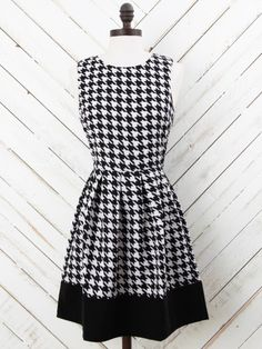 Pleated Houndstooth Dress