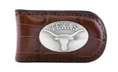 NCAA Texas Longhorns Tan Crocodile Leather Magnet Concho Money Clip, One Size by ZEP-PRO. $15.95. Decorative silver gun metal concho. Attractively boxed to make the perfect gift. Officially licensed NCAA team product. Assembled in the USA. 100 Percent genuine croco-pattern leather magnetic money clip. Carry your Texas Longhorns school and team spirit with you while keeping your cash safe. This tan genuine croco pattern leather magnetic money clip features a silver gun ...