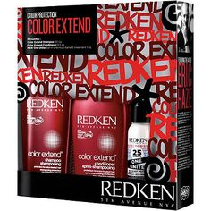 Redken Color Protection COLOR EXTEND includes: 1. Color Extend Shampoo: Cleanses and strengthens while providing anti-fade protection and increased vibrancy.  2. Color Extend Conditioner: Detangles, provides protection from color fading and delivers reflective shine.  3. NEW One United all-in-one multi-benefit treatment: improves the condition of every hair type with 25 caring benefits in one bottle for improved: manageability, protection, and beauty.  All for $29.95!