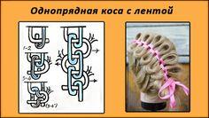 cхема плетения кос с лентами