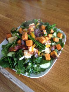 Butternut squash and hallumi salad