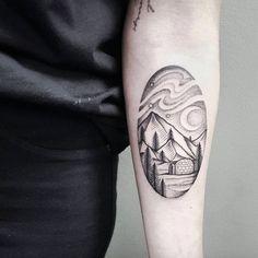 Landscape Tattoo on Forearm by Balazs Bercsenyi