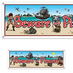 """""""Beware of Pirates"""" banner...Perfect for a #pirate #birthday #party!"""