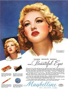0 Betty Grable - Without & with Make-up Maybelline Ad Vintage Makeup Ads, Retro Makeup, Vintage Ads, Vintage Posters, Vintage Magazines, Vintage Labels, Vintage Stuff, Vintage Signs, Makeup Advertisement