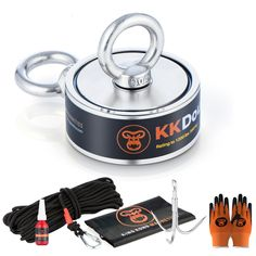 Calling all Magnet Fishing Pros! Introducing our latest premium 1200 lb double sided magnet fishing kit - the KK Double! It has everything you need to reel in the best trophies from your favourite river, lake, stream, dam or marina. Drag or drop, the kit comes with...a high tensile 8mm rope, grappling hook, protective gloves, thread locker, waterproof back pack and 2 eyebolts. Who's the magnet fishing pro now? Magnet Fishing, Fishing Kit, Grappling Hook, Gold Prospecting, Protective Gloves, Idea Box, Treasure Hunting, Metal Detecting, Fat Man