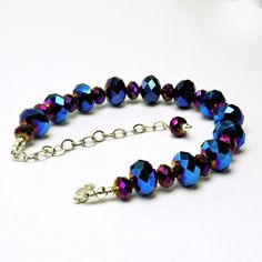 Blue and Purple Sparkly Beaded Bracelet Adjustable by STBridal www.shanghaitai.com Unique Artisan Jewelry $26 #Etsy
