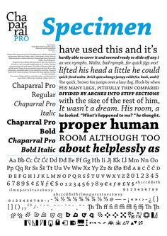 Chaparral Pro Specimen by Marko Mikicic, via Behance