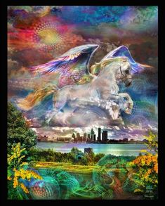Pegasus Tapestry Heaven Painting, Image Jesus, Unicorn Fantasy, Winged Horse, Devian Art, Printable Pictures, Spirited Art, Horse Drawings, Horror Art