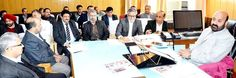 Minister for Health and Medical Education Bali Bhagat chairing a meeting at Jammu.