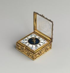 Almost nothing is known about the watchmaker who signed the movement of this watch, F. Meybom AParis/St. Germain, except that he made at least three of these unusual square-plated movements. The Paris watchmaker Auguste Bretonneau (recorded working 1638–58) and Balthazar Martinot (recorded working 1661–97), both better known than Meybom, also made them