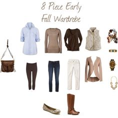 """8 Piece Early Fall Wardrobe"" by acollinsfarmer on Polyvore"