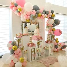 PartyWoo Pink Gray White Balloons 70 pcs 12 Inch Gray Balloons Grey Balloons Baby Pink Balloons White Balloons Confetti Balloons for Party - New Deko Sites Happy Birthday 1, Baby Birthday, Balloon Decorations, Birthday Party Decorations, Birthday Parties, Gold Confetti Balloons, White Balloons, Latex Balloons, Shower Party