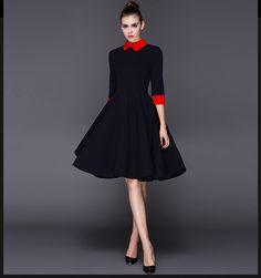 Doresuwe.com SUPPLIES 欧米セレブ愛用新品 2015秋 ハイエンド優雅 フリル 長袖ワンピース 新作ドレス
