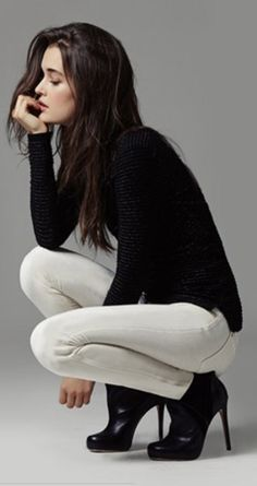 #style Black sweater, white trousers, heels. Clothing style women @roressclothes apparel closet ideas outfit