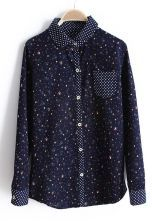 Navy Polka Dot Lapel Long Sleeve Floral Blouse $32.1