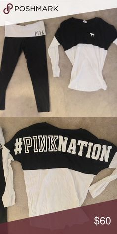 HUGE PINK SALE , LEGGINGS AND PULLOVER 2 for the price of one , Both are size medium, Yoga skinny leggings and the top PINK Victoria's Secret Pants Leggings