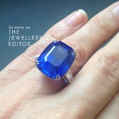 Aim high! The ideal #sapphire #engagementring - 23 ct Ceylon sapphire for sale at @christiesinc 26th Nov sale in London - estimate £140-180,000.  See more at www.thejewelleryeditor.com