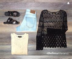 #BellmurVerano   - Sweater Hilo // SWBELL106 - Blusa Net Malaquita // SWBELL103 - Short // ÁMBAR - Sandalias Metálicas // ZBELL128  ¡Te esperamos en nuestro local de Montevideo Shopping!