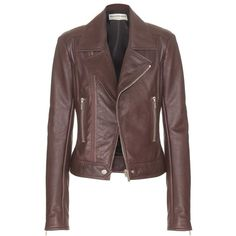 Balenciaga Leather Biker Jacket ($2,325) ❤ liked on Polyvore featuring outerwear, jackets, coats, leather jacket, coats & jackets, brown, balenciaga, leather motorcycle jacket, rider jacket and real leather jackets