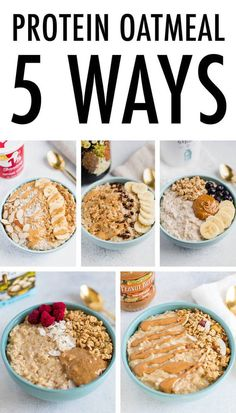 Protein Oatmeal 5 Ways: protein powder, nut butter, cottage cheese, Greek Yogurt, and egg whites. Oatmeal on it's own isn't very high in protein so I have a few go-to ingredients that I add in to up t Healthy Oatmeal Recipes, Good Healthy Recipes, Healthy Breakfast Recipes, Healthy Foods To Eat, Greek Yogurt Recipes Breakfast, Instant Oatmeal Recipes, Healthy Filling Breakfast, Best Oatmeal Recipe, Greek Yogurt Oatmeal