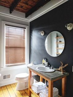DIY: How to Create Poured Concrete Vanity Tops and Shower Curbs Trim Paint Color, Dark Paint Colors, Bathroom Renovations, Home Renovation, Concrete Bathroom, Concrete Sink, Diy Concrete, Concrete Color, Cement