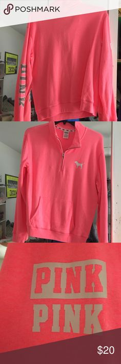 PINK 1/4 zip sweatshirt PINK 1/4 zip sweatshirt PINK on right & left arms  Blank back PINK dog on left chest SIZE: M   Worn once. Perfect condition PINK Tops Sweatshirts & Hoodies