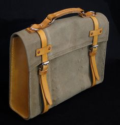 Repurposed Canvas and Leather Satchel Briefcase/Laptop Bag