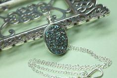 Rainbow Druzy Necklace Titanium Quartz Druzy Wire by CaveGemstones, $48.00 #druzyjewelry #rainbowdruzy