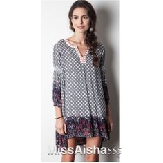 Tunic printed dress Moroccan bohemian tunic printed style dress PLEASE comment on the size you want and allow me to make you a personalized listing BUNDLE and save 10% Dresses