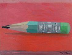Marion de Man, Potloodstompje, Acryl op paneel, 12x16 cm, €.150,-