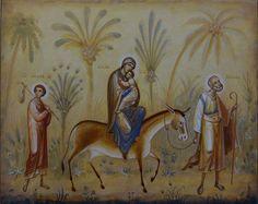 Flight to Egypt contemporary icon by Oleg Shurkus Flights To Egypt, Images Of Christ, Art Icon, Orthodox Icons, St Joseph, My Favorite Image, Christian Art, Christianity, Saints