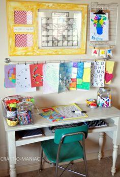 Kids Art and Homework Station - Basteln Organisation Kids Art Area, Kids Art Station, Kids Art Space, Kids Room Art, Art For Kids, Kids Rooms, Child Room, Boy Rooms, Craft Station