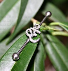 Industrial Barbell Ear Piercing-Earring Jewelry-Surgical Steel-14g or 16 g-Om Symbol Ear Piercings Industrial, Industrial Barbell, Gauges Piercing, Ear Gauges, Wedding Plugs, Tribal Looks, Om Symbol, Belly Button Rings, Steel