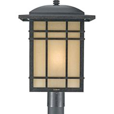 Quoizel Hillcrest 1 Light Tall Post Lantern With Opaque Linen Gl Imperial Bronze Outdoor Lighting Lights