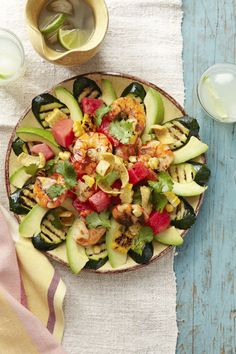 This fully loaded Shrimp Taco Salad is the perfect Mexi-Cali meal, with everything from fiery grilled shrimp to fresh corn on the cob. All that's missing is a margarita —and don't worry, we've got you covered with a recipe for that too. Click through for the recipe and more easy shrimp dinners.