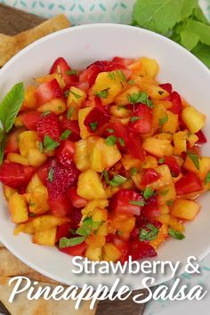 Strawberry Pineapple Salsa Strawberry Pineapple Salsa Sara Lynn Cauchon TheDomesticGeek The Domestic Geek Recipe Videos Strawberry and Pineapple Salsa that can be enjoyed nbsp hellip chips videos Fruit Recipes, Summer Recipes, Mexican Food Recipes, Appetizer Recipes, Vegetarian Recipes, Cooking Recipes, Healthy Recipes, Summer Snacks, Appetizers
