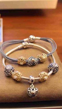 PANDORA Bracelet Duo with Beautiful Gold and Two Tone Openwork Hearts♡